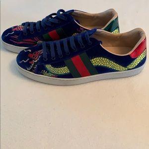 Gucci Shoes | Gucci Blue New Ace Dragon